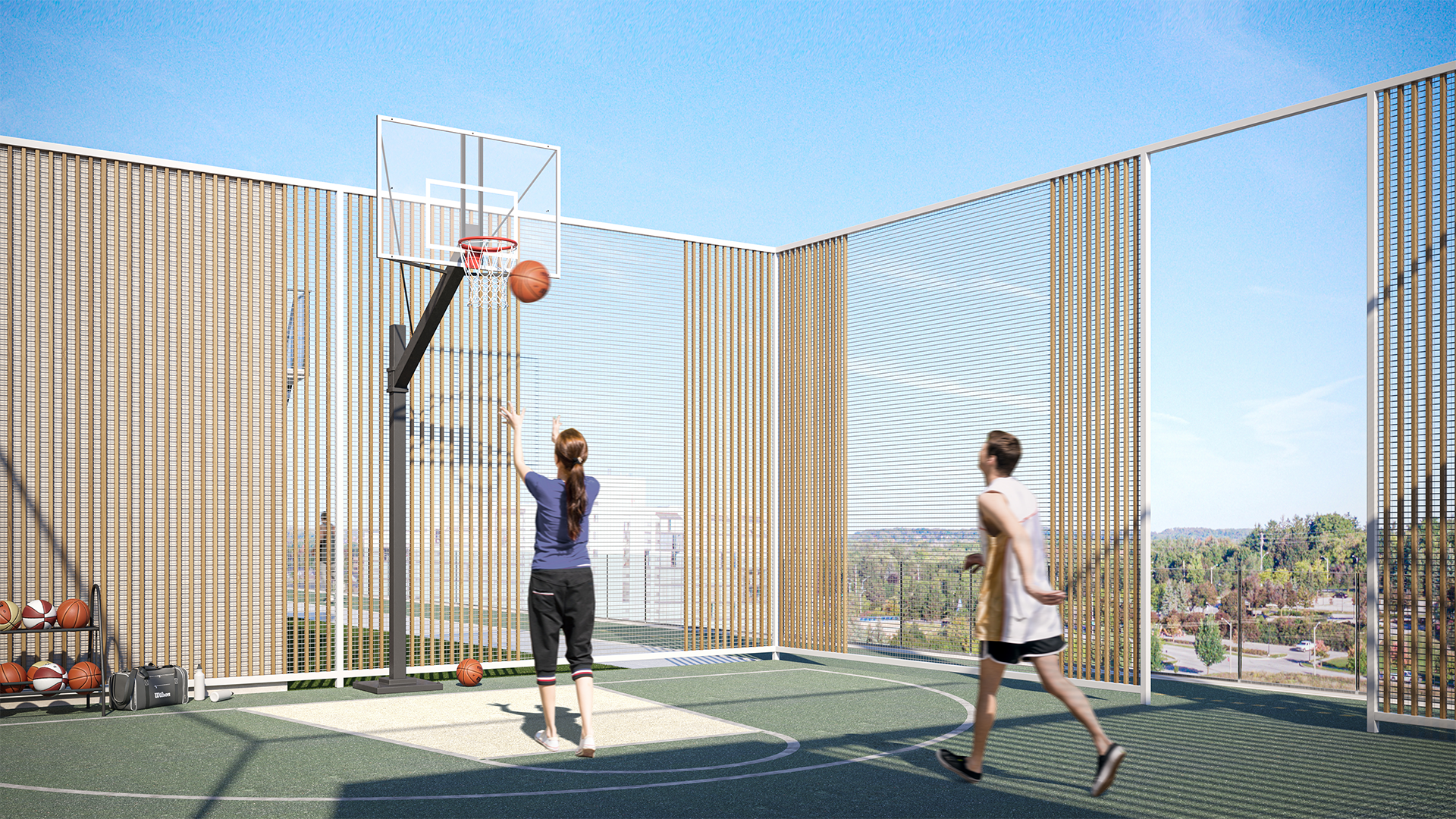 Y9825 Rooftop Basketball Court